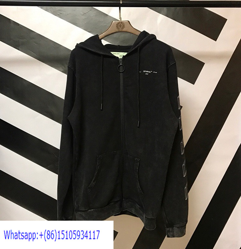 OW226 Off White 18FW 3D Sketches Washed Retro Zipper Up Hoodies