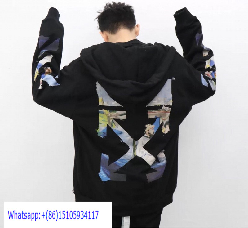 OW228 Off White 19SS Multicolor Arrows Zip Up Hoodies