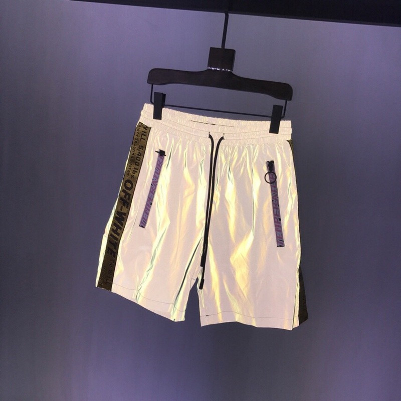 OW317 Off White 3M reflective and yellow ribbon shorts